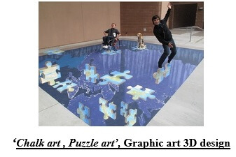 Chalk art, Puzzle art, Graphic art 3D design