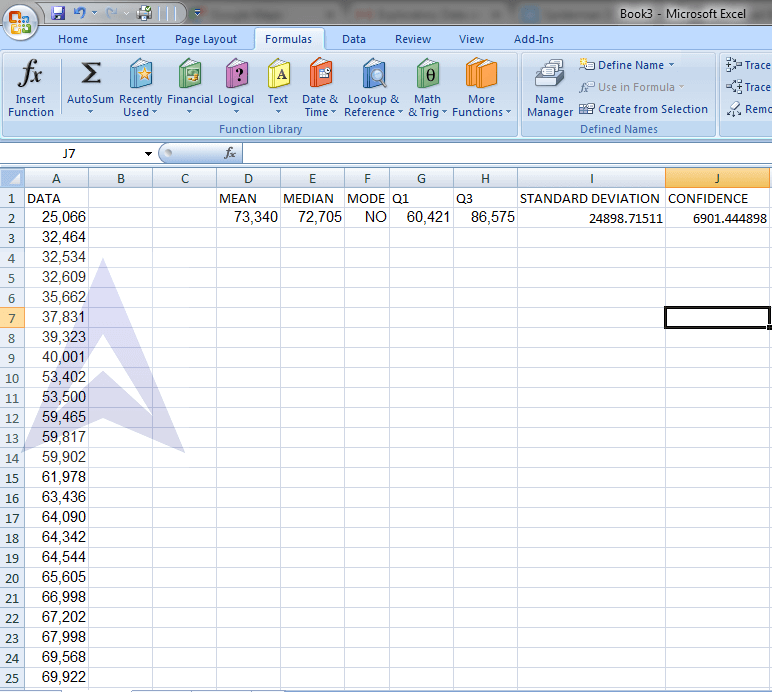 Calculate Standard Deviation of Sample in Excel