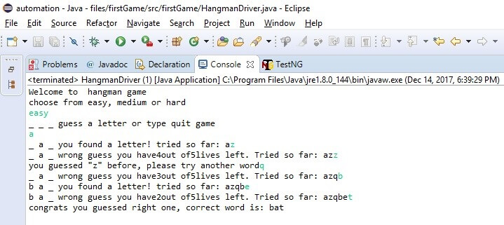 hangman game in java