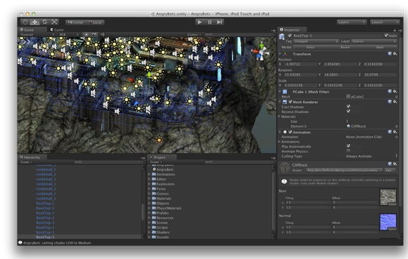 unity game engine interface