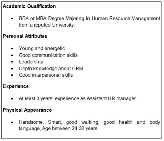 HR department of the Tesco job specification