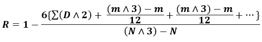 spearman rank formula when ranks are equal