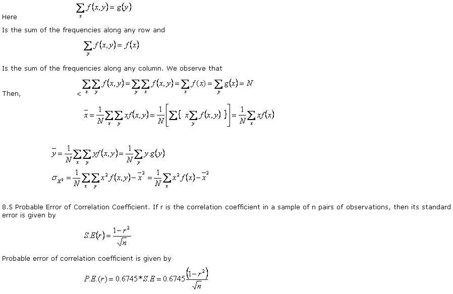 calculation of the correlation coefficient