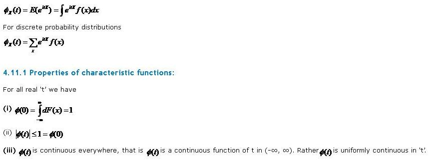 properties of characteristic functions