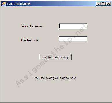 Visual Basic Tax Calculator
